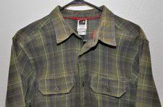 THE NORTH FACE Flannel Green Plaid Button Front  Men's L/G Cotton Blend Camping #TheNorthFace #ButtonFront