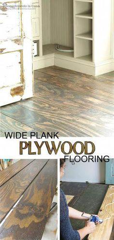 Remodelando la Casa: DIY - Plywood Floors #homeflooringchoices Home Remodeling Diy, Remodeling Mobile Homes, Home Renovation, Kitchen Remodeling, Diy Wood Floors, Diy Flooring, Laminate Flooring, Concrete Floors, Concrete Lamp