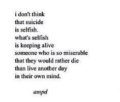 I don't think it's selfish