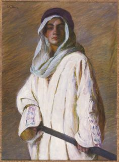 """Portrait of Kahlil Gibran,"" Lilla Cabot Perry, ca. 1898-99, oil on canvas, 40 x 29"", Telfair Art Museum."