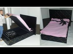How to make a Doll Bed with Storage - YouTube