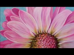 Pink Daisy Large Floral Acrylic Painting Tutorial LIVE - YouTube