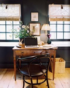 I like the combination of black walls and wood. The shades give the same sort of contrast.