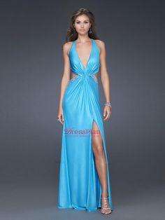Sexy Evening Gowns | ... Dresses Evening Dresses Sky Blue Sexy Halter Neckline Sheath Evening