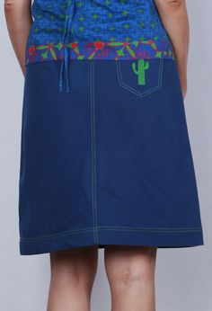 Cotton canvas button up skirt with contrast stitching and embroidered cactus motif on back pocket.Was $79 SALE $59Condition apply