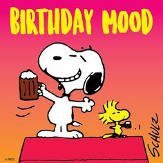 Peanuts by Charles Schulz for Aug Snoopy's birthday ♥ Snoopy Party, Baby Snoopy, Birthday Cheers, Happy Birthday Video, Happy Birthday Wishes, Birthday Pins, Birthday Board, Birthday Greetings, Happy Birthday Snoopy Images