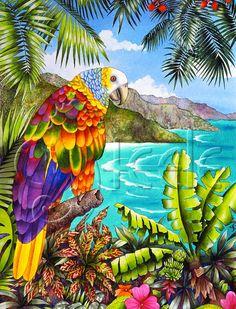 Carolyn Steele painting tropical art print with by WaterlemonMoon, $20.00