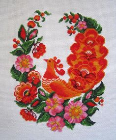 CrossStitch Traditional Ukrainian Embroidery  Ornament - red and orange rooster (Petrikovskaya painting style). $60.00, via Etsy.