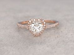 1ct brilliant Moissanite Engagement ring Rose gold,Diamond wedding band,14k,6.5mm heart shaped,Gemstone Promise Bridal Ring,Halo,Anniversary by popRing on popRing