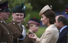 The Duchess looked incredibly expressive as she enjoyed what looked to be a very in depth conversation with the soldiers
