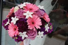 Wedding Flowers Ideas, Beautiful Purple And Pink Wedding Flower Bouquets Combined With Sweet Pink Wedding Flower Bouquets Roses And White Fresh Flowers: Beautiful Wedding Flower Bouquets For Beautiful Bride