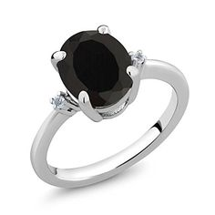 Black Onyx and White Diamond 925 Sterling Silver Ring 2.22 Carat Sizes 5 to 9 by Gem Stone King