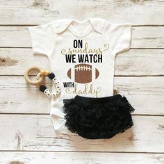 On Sundays We Watch Football With Daddy Boutique Baby Girl Outfit.