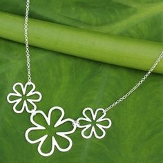 Flower Power Cutout Silhouettes in Brushed 925 Sterling Silver on Adjustable Chain Modern Womens Pendant Necklace (Thailand) | Overstock.com Shopping - The Best Deals on Necklaces