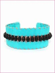 mollym Beaded Bohemian Hippie bracelet aqua black