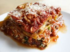 Gluten Free Lasagna using butternut squash (with spinach ricotta filling and caramelized onions)