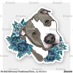 Shop Pit Bull Advocacy Traditional Floral Tat End BSL Sticker created by Malibini. Tattoo Perro, Animal Drawings, Art Drawings, Pitbull Drawing, Pitbull Terrier, Terrier Mix, Dog Art, Traditional Tattoo, Cute Stickers