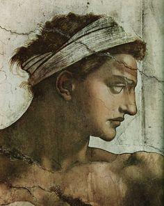 Ignudo over Jeremiah (detail), Sistine Chapel, Michelangelo. Renaissance Kunst, High Renaissance, Renaissance Paintings, Italian Sculptors, Sistine Chapel, Western Art, Great Artists, Art History, Photo Art