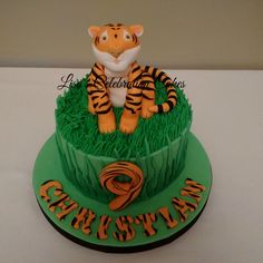 "Fondant tiger 6"" birthday cake with buttercream 'grass'"