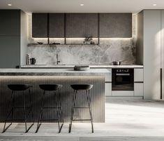 Fabulous Modern Kitchen Sets on Simplicity , Efficiency and Elegance Tips & … - luxury kitchen Luxury Kitchen Design, Kitchen Room Design, Contemporary Kitchen Design, Kitchen Sets, Home Decor Kitchen, Interior Design Kitchen, Kitchen Furniture, Home Kitchens, Kitchen Designs