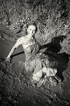 During the trashing. The Littlest Fish Photography. bwMarjorie_and_mud0252