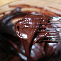 One-Minute Chocolate Frosting ~   Smooth, delicious, and as easy as it gets! Vegan and non-dairy options, too.