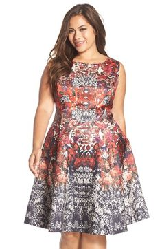 Gabby Skye Floral Print Fit & Flare Dress (Plus Size) available at #Nordstrom