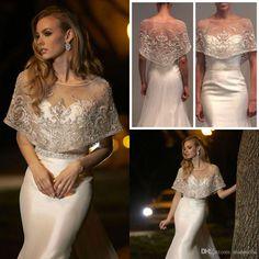 2016 Short Rhinestone Bridal Wraps Beads Bridal Coat Jewel Neck Lace Jackets Wedding Capes Wraps Bolero Jacket Wedding Dress Wraps Plus Size From Manweisi, $44.43 | Dhgate.Com