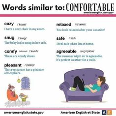 Words similar to 'comfortable' in English