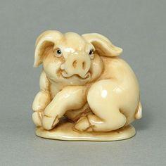"""Hippo Ivory Netsuke Zodiac Pig Figurine Carving, Genuine Hippo Ivory handcrafted """"Zodiac Pig"""" carving, size: 1-3/8"""" x 1-5/16"""" x 1-1/16"""" (35mm x 34mm x 27mm)"""