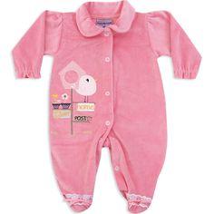 Macacão de Plush para Bebê e Recém Nascido Menina Rosa - Travessus :: 764 Kids | Roupa bebê e infantil