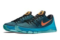 the best attitude a10de 46d49 Nike KD 8 Road Game Blue Lagoon BlackTide Pool Blue Bright Citrus 749375  480 Jordan 10