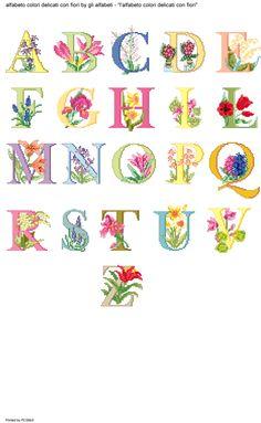 Alfabeto colori delicati con fiori