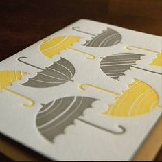 Umbrellas letterpress single folded card by paisleytreepress, $4.50
