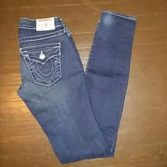 True religion julie skinny jeans sz 24 True religion brand Used few times In great condition Size 24 Dark blue with factory white ash fade Five pockets Skinny style Belt loops Zip fly Button closure Ends of jeans has factory ash fade  Will post more pics on another listing True Religion Jeans Skinny