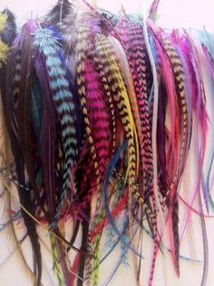 Sexy Sparkles 100 Real Rainbow Colors of Mixed Genuine Grizzly and Solid Feathers Ranging 4″-6″ in Length Plus (20) 5mm Micro Beads(you Get 100 Different Color Feathers)