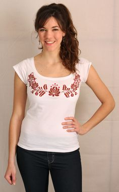 Hand painted washable T-shirt with Hungarian folk art on it!