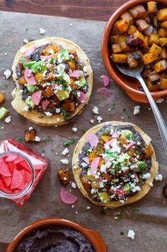 gluten-free butternut squash tostadas with quick black bean spread