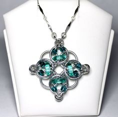 Chainmaille Necklace/Pendant- Celtic Diamond- Chainmaille with glass- Aluminum/Aqua/Teal