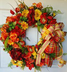 Spring Wreath Red Orange Wreath Summer by BlackandWhiteCandles