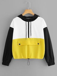 To find out about the Color-Block Drawstring Hoodie at SHEIN, part of our latest Sweatshirts ready to shop online today! Teen Fashion, Fashion News, Fashion Outfits, Womens Fashion, Mode Collage, Mode Simple, Hooded Sweatshirts, Hoodies, Ladies Dress Design