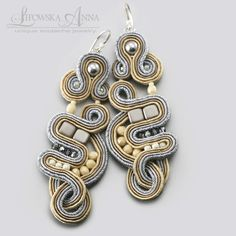 679 Anna Lipowska Lianna Jewelry braid soutache www. Soutache Pendant, Soutache Earrings, Shibori, Beaded Embroidery, Braids, Swarovski, Anna, Inspiration, Projects