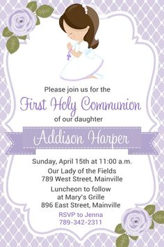 First Communion Invitation Communion. Girl Purple ANY HAIR | Etsy First Communion Banner, Holy Communion Invitations, Baby Invitations, First Holy Communion, Digital Invitations, Printable Invitations, Holy Communion Dresses, Etsy, Invitation Layout