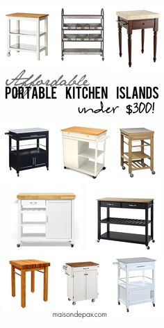 Where to buy affordable kitchen islands: rolling carts, shelves, butcher block countertops, granite, stainless, painted, wooden... so many options!