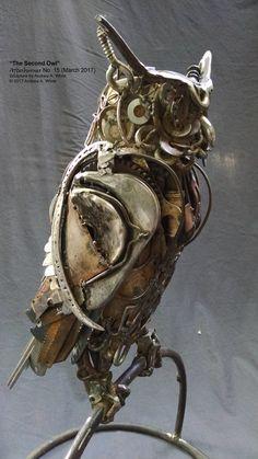 """the Second Owl """" Scrap Metal Sculpture Scrap Metal Art, Metal Tree Wall Art, Metal Artwork, Tree Artwork, Metal Art Projects, Metal Crafts, Welding Projects, Welding Ideas, Metal Art Sculpture"""