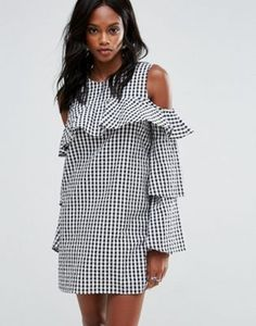 Missguided Layered Frill Gingham Cold Shoulder Dress