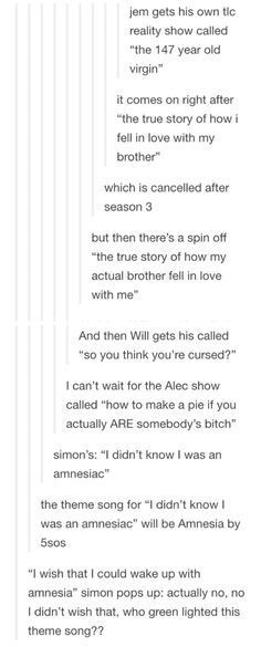If the Shadowhunter Chronicles was split into TV shows.