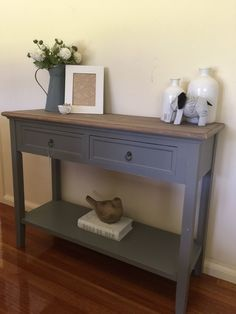 100cm 2 Drawer Console French Provincial Grey Hall Table TV Stand Shelf | eBay