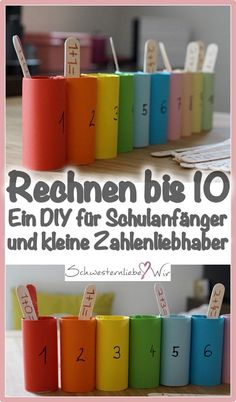 Rechnen lernen bis 10 – Montessori DIY This simple calculation game you can tinker yourself from some toilet paper rolls and ice bars. This allows simple arithmetic tasks up to 10 to be solved – ideal for beginners and small number lovers. Montessori Playroom, Montessori Toddler, Montessori Activities, Montessori Kindergarten, Diy Simple, Easy Diy, Science Student, Math Games, Teachers