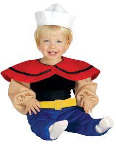 Popeye-Babykostüm für den Fasching mit Oberteil, Hose und Mütze.